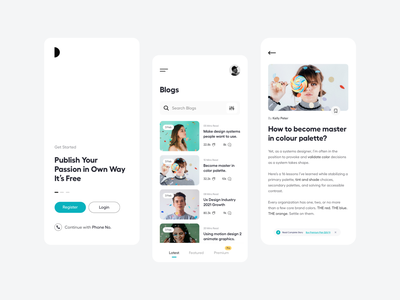 Blog_UI mobile app user experience user inteface product detail blog login brand identity pro story reading app branding medium blog app blog ui product design ui-ux clean ux ui