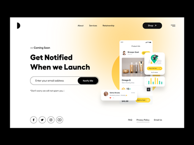 Coming Soon yellow coming soon page comingsoon shopping website ecommerce shopping card ui website user interface white typography user experience product design ui-ux clean ux ui product page landing page coming soon