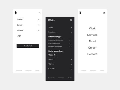 Responsive Menu app menu light theme white ui black and white app ui mobile menu website menu menu responsive responsive design landing page user interface white typography user experience product design clean ui-ux ux ui