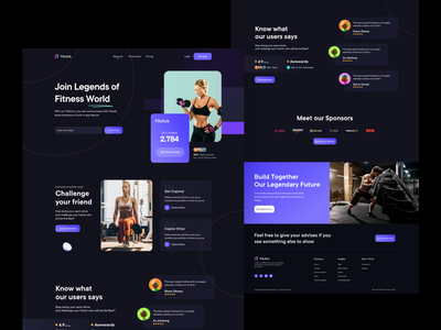 Fitness UI app ui fitness center profile bonus landing page fitness club night mode dark branding user interface typography user experience product design ui-ux ux ui fitness app gym website gym fitness