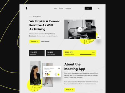 Web Ui landing page concept light theme yellow landing page design meeting website meeting hero header website concept website landing page user interface white typography user experience product design clean ui-ux ux ui