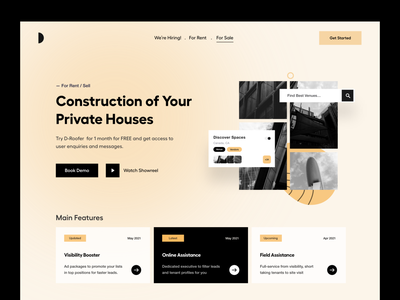 Landing UI home housing clean website menu header landing page design sales rent house agent house sale landing page website real estate agency real estate user interface typography user experience product design ui-ux ux
