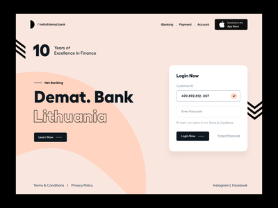 Login UI menu baking bank finance websites user experience product design clean ui-ux ux ui login screen login form login page landing page website header splash app login login