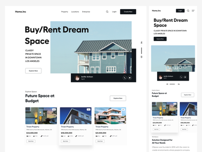 Rent or Buy Space user inteface user interface product design ui-ux web app mobile ui responsive search landing pages office space buy house properties header website buy home booking website landing page realestate rent house housing