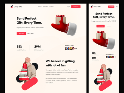 Gift UI app ui mobile ui landing page responsive design header website party send gift landing page ui user interface white typography user experience clean product design ui-ux ux ui gift website gift