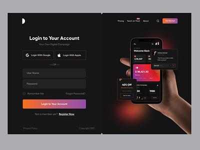 Login UI card ui design app ui menu analytics branding dark theme user interface typography clean user experience ui-ux ux ui product design dashboard web app app onboarding signup login
