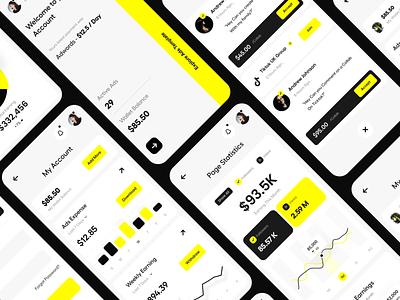 Dashboard Mobile View app ui responsive web app yellow card ui analytics mobile app mobile ui dashboard ui dashboard typography user experience clean product design ui-ux ux ui