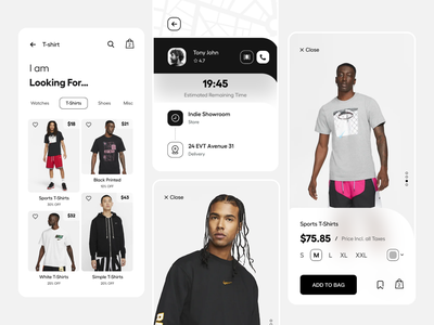 App UI white online shopping track product page nike typography user experience product design ui-ux ux ui buy now app ui shop now ecommerce app shopping app app ecommerce add to cart