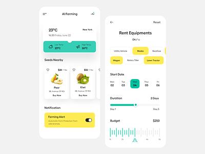 App UI app development fruit food app design clean typography user experience product design ui-ux ux ui ios app ui mobile app ai farming smart farm