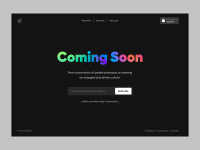 Coming Soon design typography clean user experience product design ui-ux ux ui alert subscription notification coming soon page landing page website coming soon