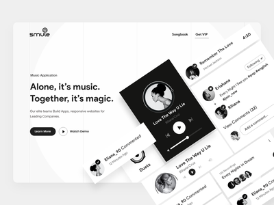 Web UI music landing page voice app singing app design typography clean user experience product design ui-ux ux ui feature menu header light theme black and white card ui website landing page