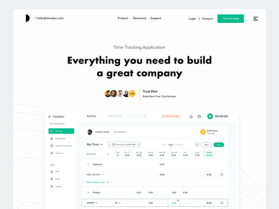 Landing Page light theme design typography clean user experience product design time tracking ui-ux ux ui web app dashboard hero website header product website product website landing page