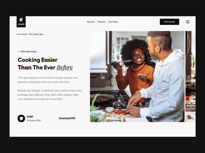 Case Study portfolio our work studio agency typography clean user experience product design ui-ux ux ui food app chef case study hero header website landing page