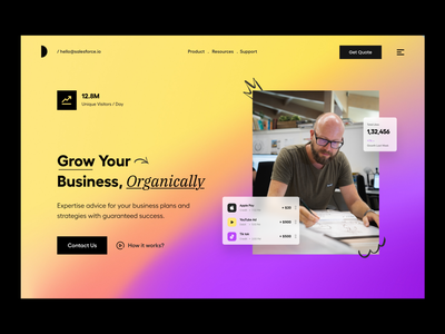 Landing UI design typography clean user experience product design ui-ux ux animation ui payment finance wallet feature header hero landing page website