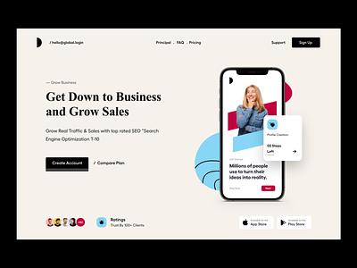 Website UI design ui marketing seo design typography clean user experience product design ui-ux ux ui feature website design app landing page menu header landing page website