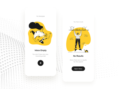 Mobile UI app ios inbox mail yellow empty screen empty space illustration psd ui-ux design white clean ux ui