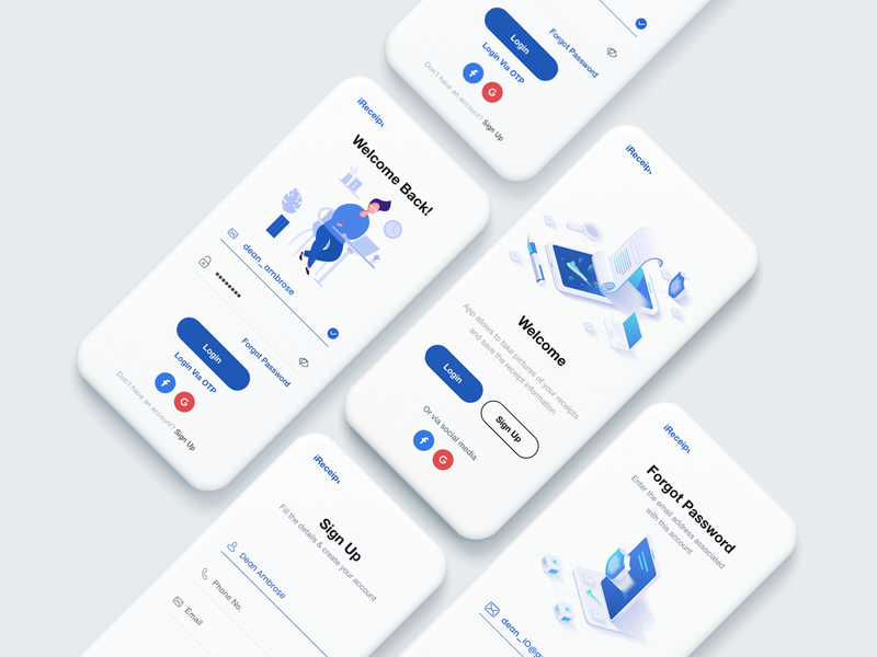 Login UI app signup app login mobile app socialmedia email receipt create account sign in signup splash login vector illustration shot psd ui-ux design white clean ux ui