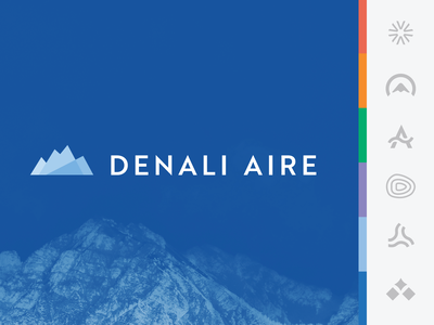 Denali Aire :: Branding logo exploration air conditioner fan snow wind air cold blue mountain mark logo branding