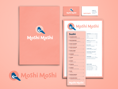 Moshi Moshi :: Branding Assets business card stationary stationery menu pink restaurant sushi magpie bird logo mark logo type logotype logo branding brand
