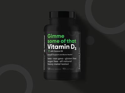 Millennial :: Vitamin D Packaging bottle vitamin d vitamin health neon print packaging rainbow eye triangle mark logo branding