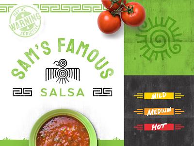 Sam's Famous Salsa :: Branding green brand flavor salsa food temperature heat pattern logo bird