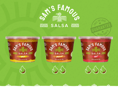 Sam's Famous Salsa :: Packaging bird logo spicy heat salsa traditional addictive family history vibrant food fresh deli produce stores tub label packaging package