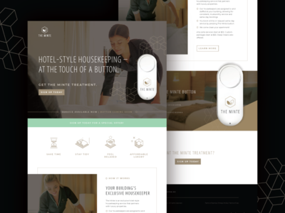 The Minte :: Landing Page landing page web design promotion housekeeper service maid cleaning home ux ui web