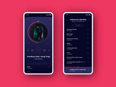 Music Player Redesign dark theme dark mode daily ui 009 play music player music app music app product design daily ui challenge daily ui ui