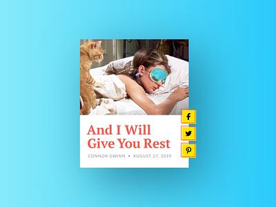 Social Share :: Mockingbird card design blog social share social product design daily ui challenge daily ui ui