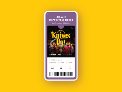 Email Receipt :: Ticket Stub daily ui 017 sketch app confirmation movie purchase receipt ticket design adobexd dailyui app product design daily ui challenge daily ui ui