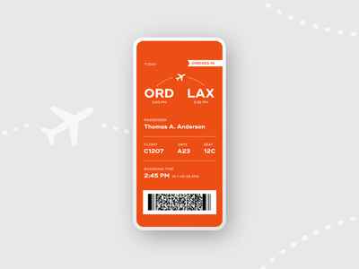 Boarding Pass :: ORD to LAX flight app scan barcode ticket airplane flight boardingpass daily ui 024 adobe xd design adobexd prototype dailyui app product design daily ui challenge daily ui ui