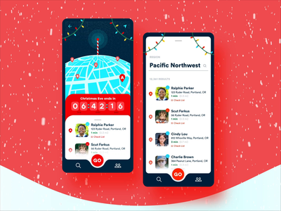 Santa Tracker timer santa claus santa happy holidays merry christmas holiday christmas search checklist list location map ux adobe xd design adobexd prototype app product design ui