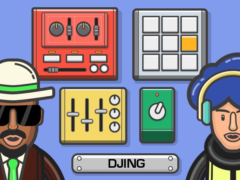 DJ Learning APP 2d vector app concept branding flat illustration music ios