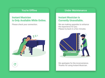 Oops Pages vector error mobile ios product branding piano music design ux ui illustration 2d