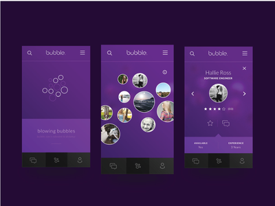 Bubble dark images icons network social purple ux ui