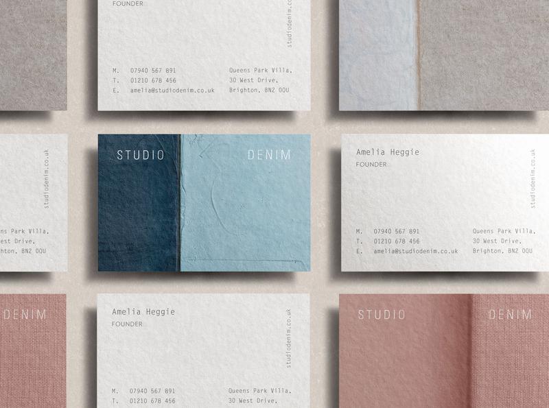 Studio Denim Interiors Business Cards tactile design textures pastels interior design rebrand agency branding logo brand identity logo design branding