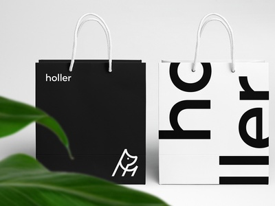 Holler Retail Branded Bags dogclothingbrand clothingbrand dogboutique retail packaging identity logo agency branding brand identity logo design branding