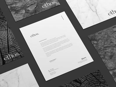 Ethos Corporate Stationery Design corporate design letterhead letterhead design branding minimal branding corporate stationery design ethos branding