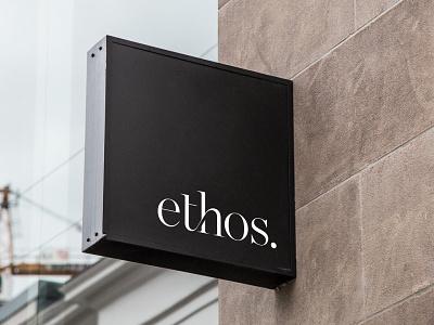 Ethos Building Signage branding signage logo logo design wordmark wordmarque ligature ethos ethos branding