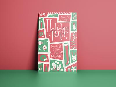 Holiday Invite print design invite design midcentury christmas invitation christmas card retro christmas holiday invitation invitation invite holiday holiday card