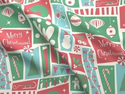 Midcentury Christmas Fabric graphic design ornaments mistletoe snowman mitten peppermint christmas cocktail midcentury christmas midcentury christmas holiday fabric design fabric textile design design