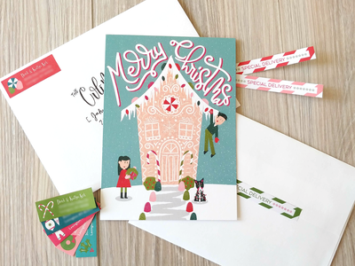 2018 Christmas Card corgi simple character design gingerbread address labels retrosupply merry christmas christmas card christmas