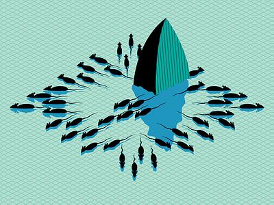 Uber rats fleeing sinking ship illustration illustrator editorial techcrunch uber