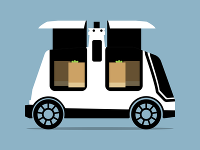 Nuro Delivery Bot Vehicle illustration techcrunch illustrator
