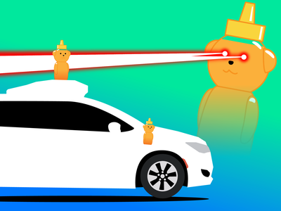 Honey Bear Laser - Waymo lasers illustration techcrunch illustrator