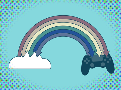 Game Streaming illustration techcrunch illustrator gaming cloud