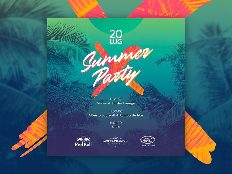 Concept  Flyer #1   Summer Party work job square design concept visual palm beach dj club event summer party post instagram flyer