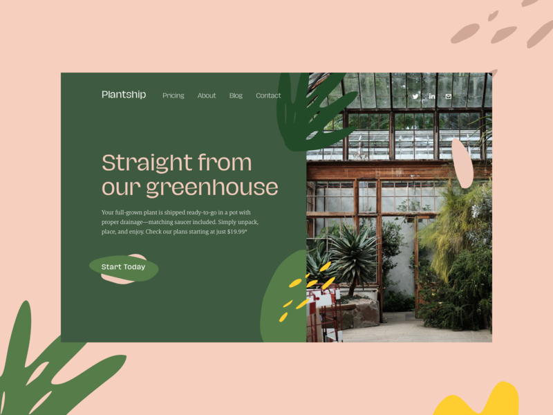 Plantship concept landing organic plantship illustration website minimal interface ux design ui web green hellohello plant