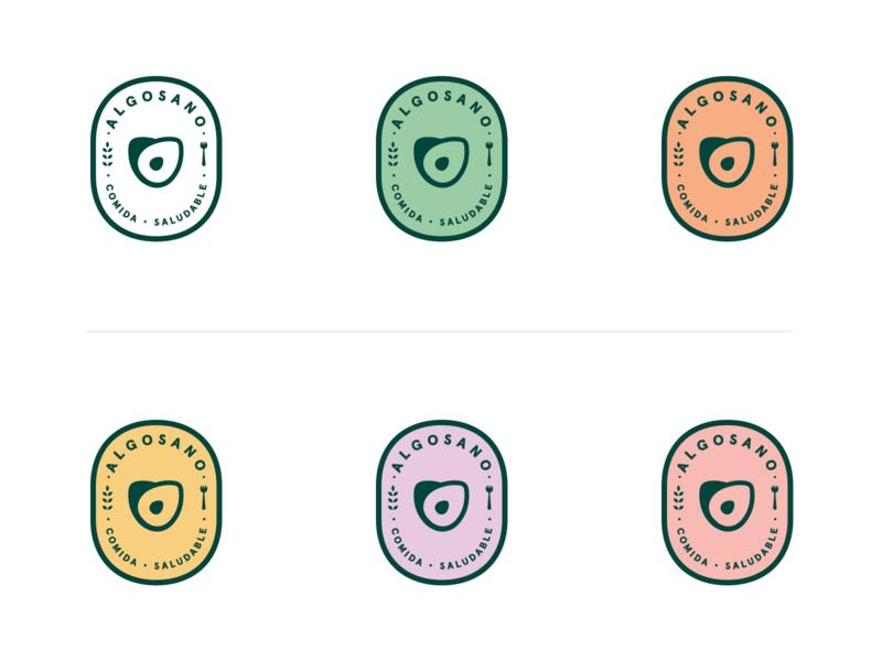 AlgoSano Badges algosano hellohello avocado palta plant mark badge organic green sano healthy food logo branding illustration design