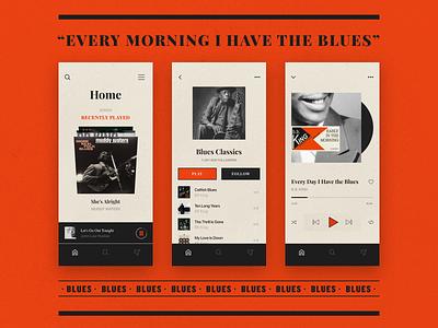 Blues iphone mobile ios song record classic spotify lyrics genre music blues hellohello app interface ux ui design